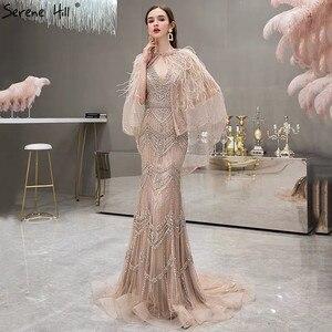 Image 4 - כסף עירום ללא שרוולים צעיף חוט נוצות V צוואר בת ים יוקרה סקסי פורמליות ערב שמלות 2020 Serene היל LA70171