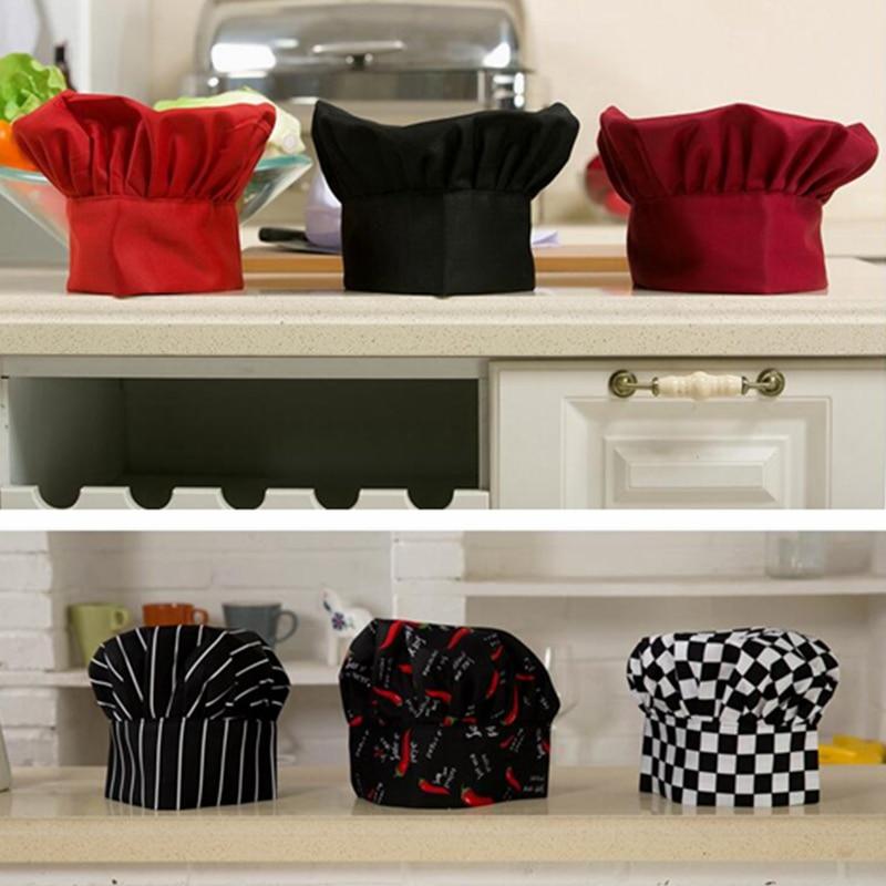 1pc Cooking Adjustable Chef Hat Men Kitchen Baker Elastic Hat Catering Cooking Cap Striped Plain Hats Working Cap DAJ9025