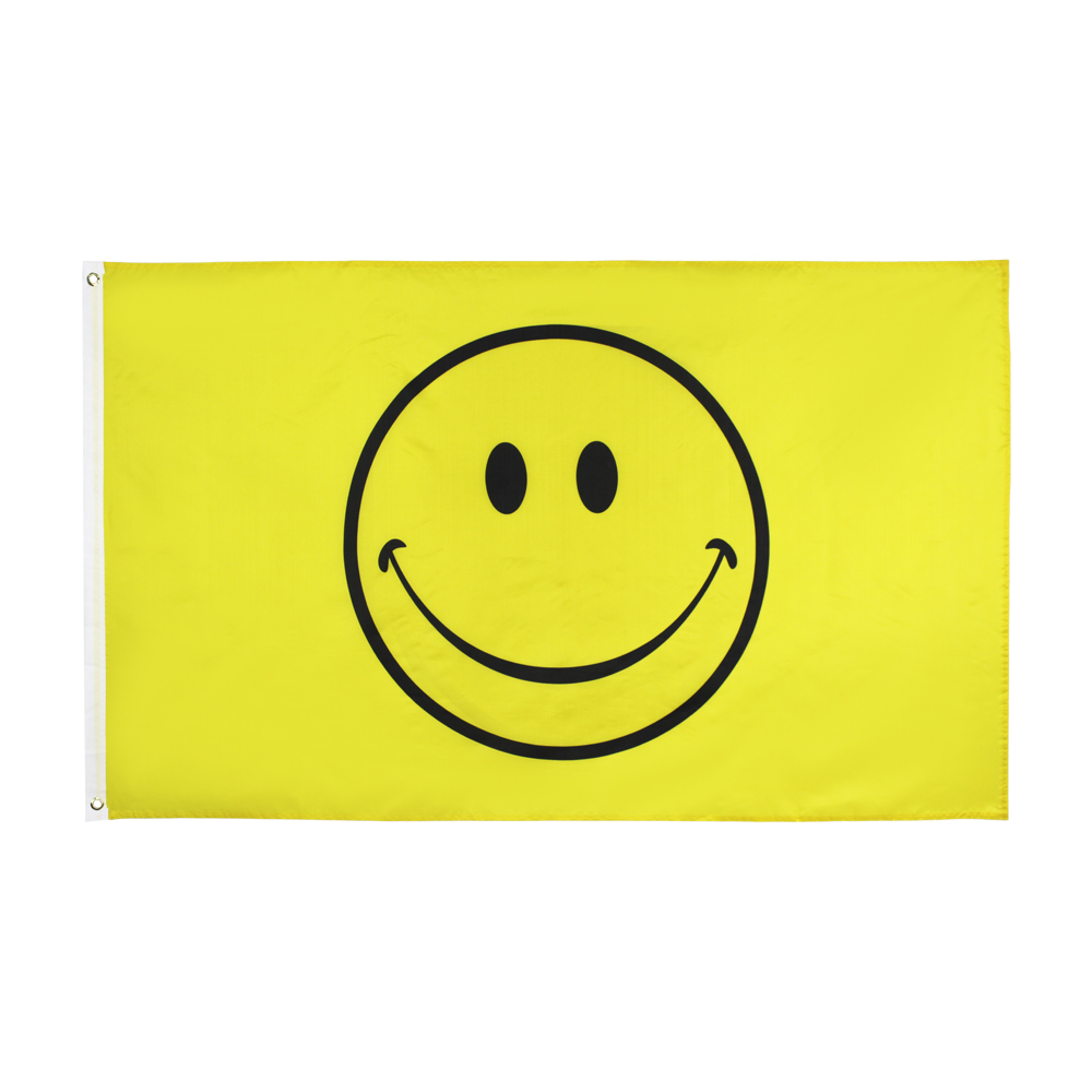 <font><b>90*150</b></font> yellow happy face smiley smile Flag image