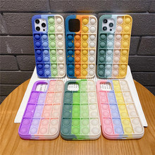 Fashion Rainbow Silicone Phone Case For Iphone 6 6s 7 8 Plus X XR XS Max11 12 Pro Max Cover Reliver Stress Pop Bubble Cover