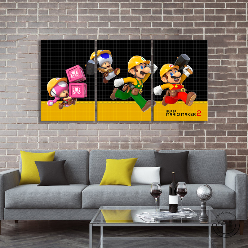 SUPER MARIO MAKER 2 video game poster paintings mario games art HD wall picture canvas painting for bedroom wall decor 3