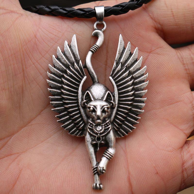 Ancienne egypte Bastet Statue chat pendentif collier égyptien Sphinx WICCA païen chat collier amulette bijoux unisexe