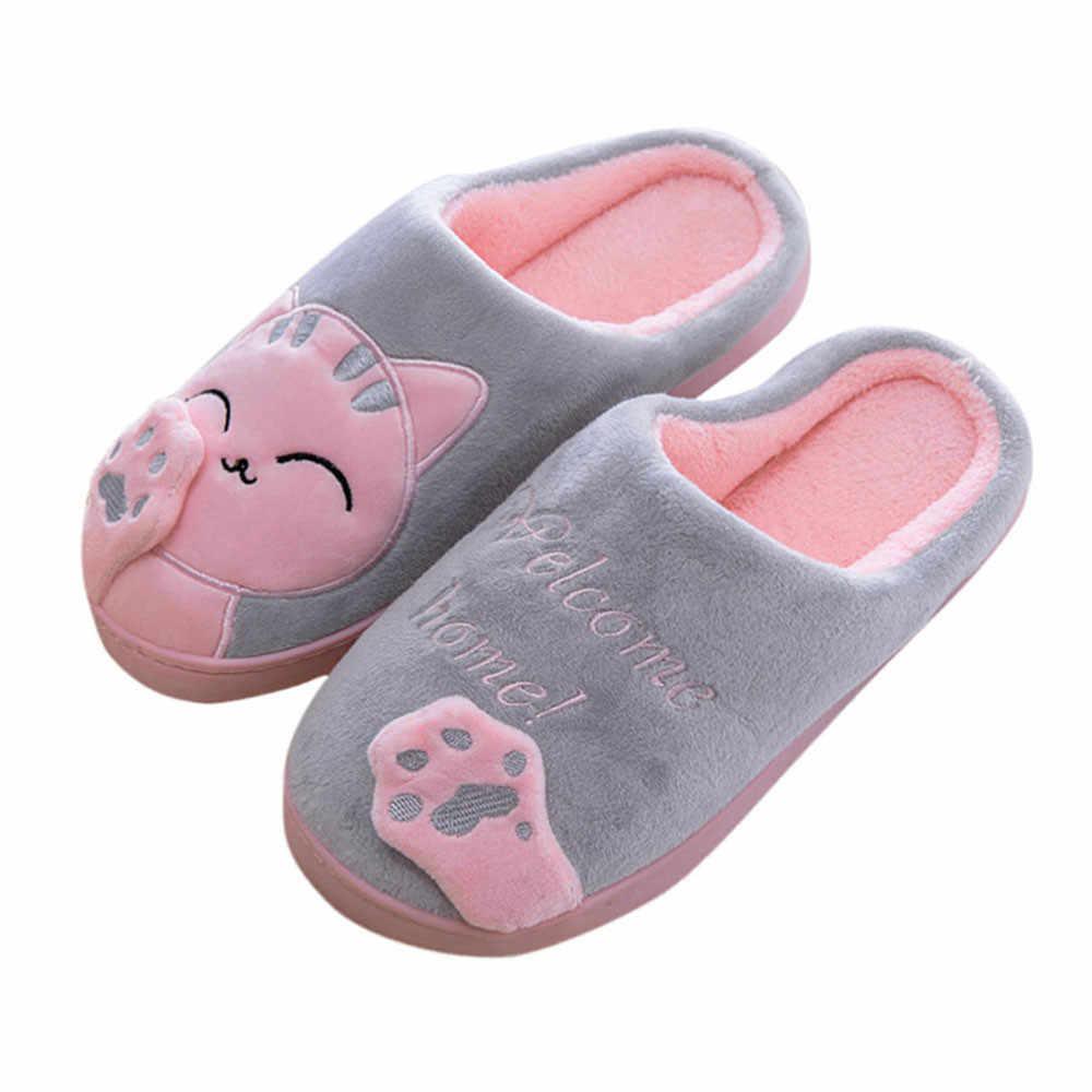 Wanita Sandal Rumah Musim Dingin Slide Kartun Kucing Sandal Jepit Non-Slip Hangat Di Dalam Ruangan Kamar Tidur Lantai Sepatu Zapatos De Mujer kapcie # D9