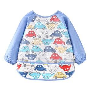 De manga larga de algodón fino bebé babero verano niño comida ropa niñas impermeable ropa protectora niños