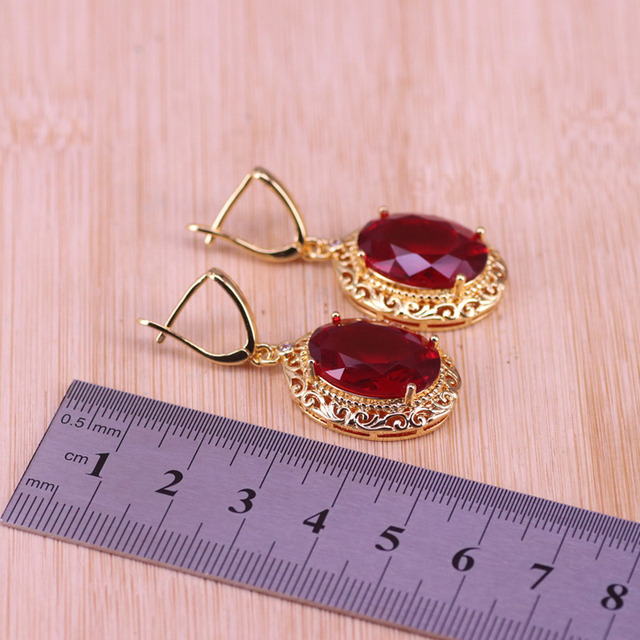 Risenj Dubai Luxury Style Many Colors Big Red Stone Gold Color Jewelry For Women Adjustable Ring Necklace Set Free Shipping 6