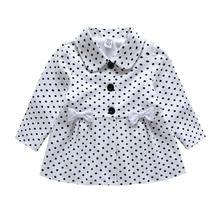 Модное демисезонное пальто в горошек для маленьких девочек детская