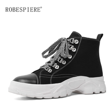 ROBESPIERE Brand Boots Winter Plush Platform Woman Snow Female Casual Sneakers 2019 Lace Up Women Warm Shoes B128