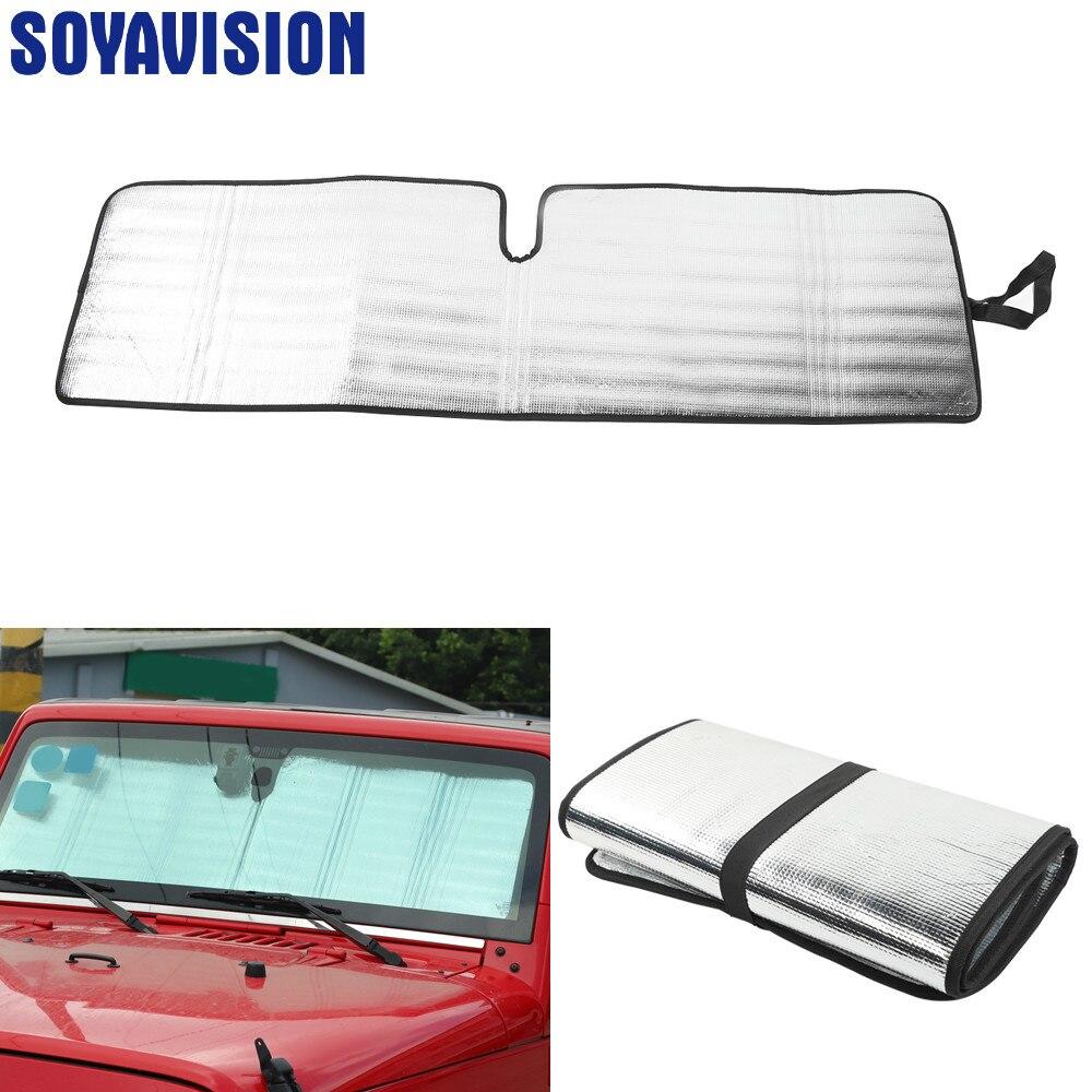 Prata pára-brisa pára-sol janela dianteira do carro anti raios uv protetor protetor protetor de sol capa acessórios apto para jeep wrangler jk tj
