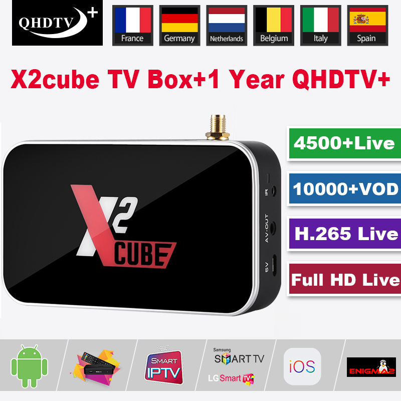 X2 Cube Smart Android9.0 TV BOX S905X2 DDR4 Set Top Box With 1 Year QHDTV Plus Abonnement France IPTV Subscription M3U Free Test