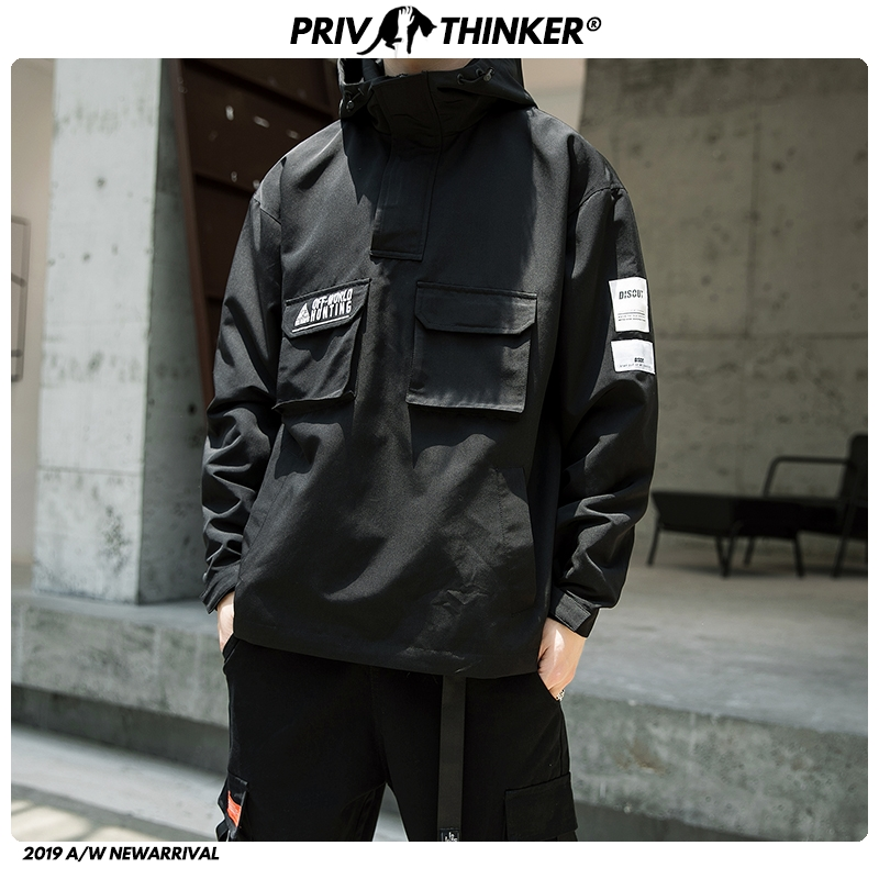 Privathinker 2019 Men Autumn Fashion Hooded Jackets Mens Hip Hop Casual Streetwear Jackets Male Oversize Safari Style Clothes