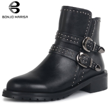 BONJOMARISA New 34-42 Brand Rivet Booties Ladies Fashion Platform Chelsea Boots Women 2019 Med Chunky Heels Shoes Woman fashion brand new women ankle boots famous designer high heels platform shoes woman black leather short chelsea booties women