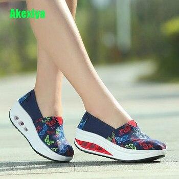 Akexiya Fashin-Zapatillas de lona con estampado de mariposa para mujer, zapatos planos...