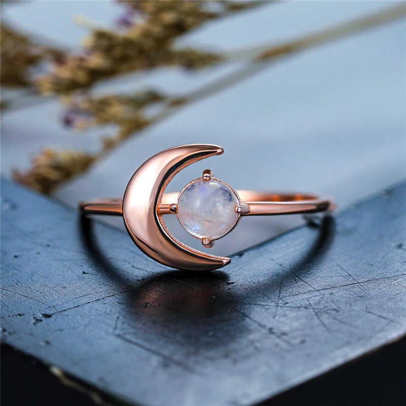 Boho Weibliche Echte Kleine Runde Natürliche Mondstein Ring Rose Gold Hochzeit Ringe Für Frauen Nette Liebe Mond Engagement Ring