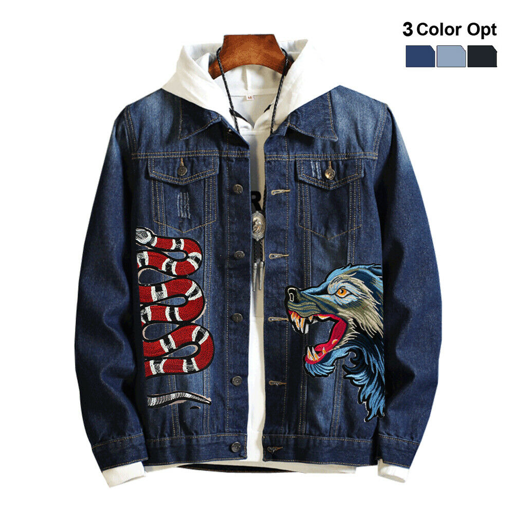 Men Boy Jean Denim Jacket Outerwear Classic Coat Embroidery Ripped Bomber Wolf Skate Boho Hip Pop Jacket Outfit Black Blue