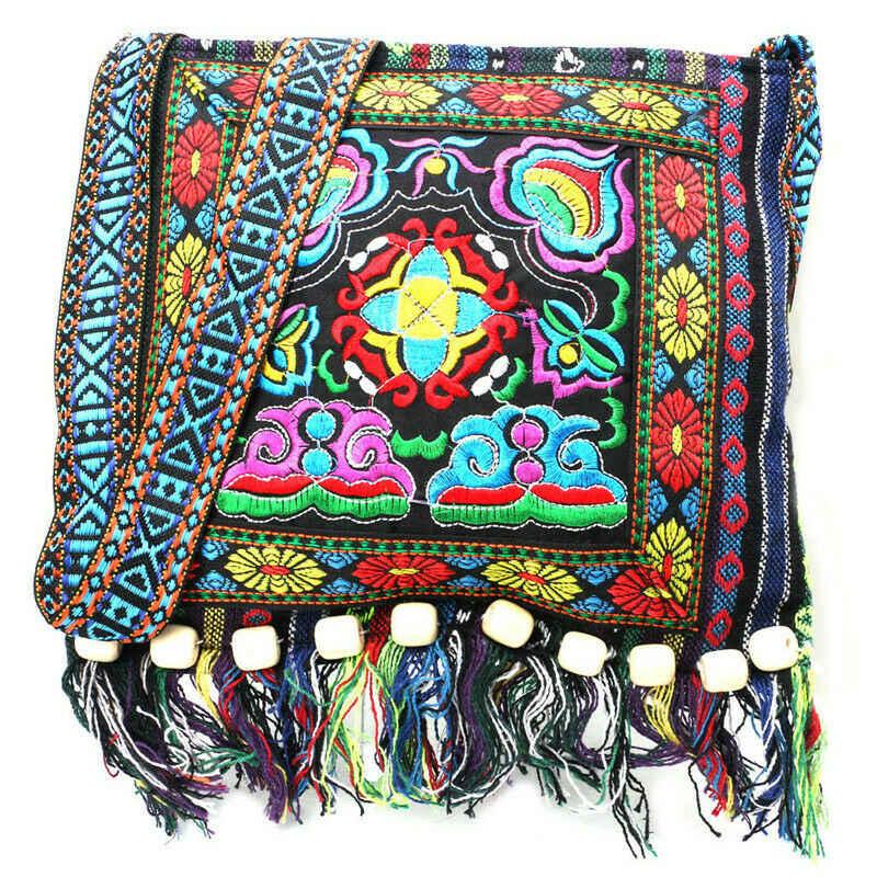 Hmong vintage étnico bolsa de ombro bordado boho hippie borla tote mensageiro