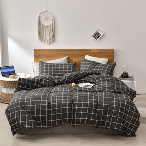Simple Bedding Set Plaid Quilt Cover Stripe Pillowcase Comfortable Household Product Breathable Bedclothes Soft Fabric For Home