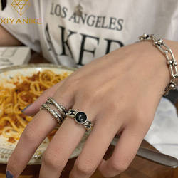 XIYANIKE 925 Sterling Silver Korean Black Gemstone Twist Double Layer Cross Retro Open Ring Couple Fashion Hip-hop Distressed