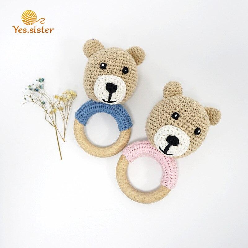 Brown Bear Molar Stick Baby Sleep Comfort Toy Cute Bear Rattle Baby Toy