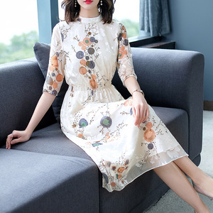 Silk dress female five big sleeve cultivate morality show thin mulberry silk flower long silk dress S to 2XL
