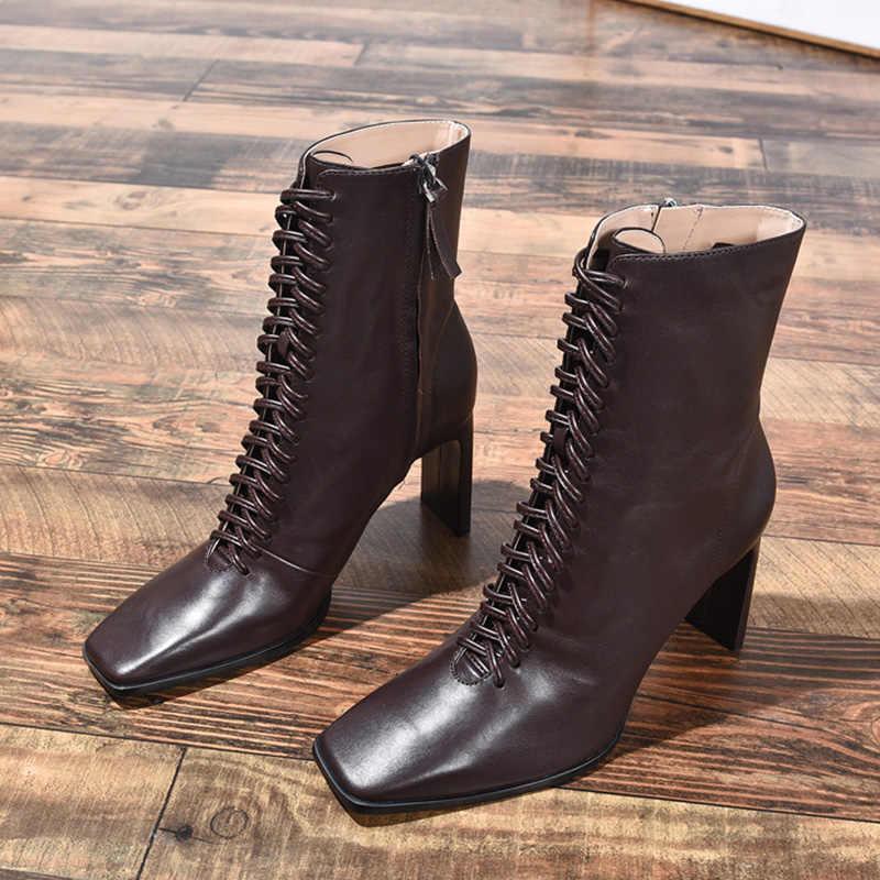 Giày Bốt Nữ Da Thời Trang Giày Cao Gót Giày Mùa Đông Dây Kéo Người Phụ Nữ Giày Vuông Mũi Mắt Cá Chân Giày Nữ Gót 2020