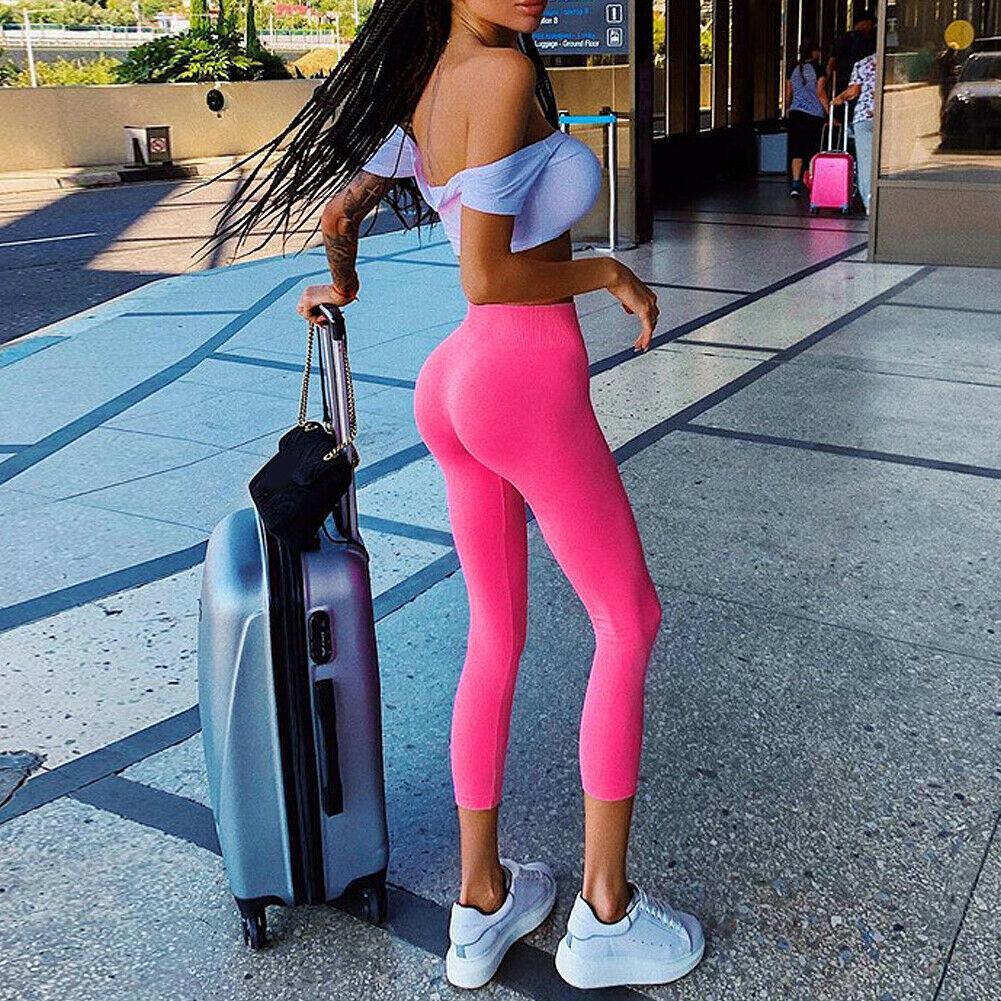 Womens Long Leggings Basic Full Ankle Length Stretch Cotton Span High Rise Waist