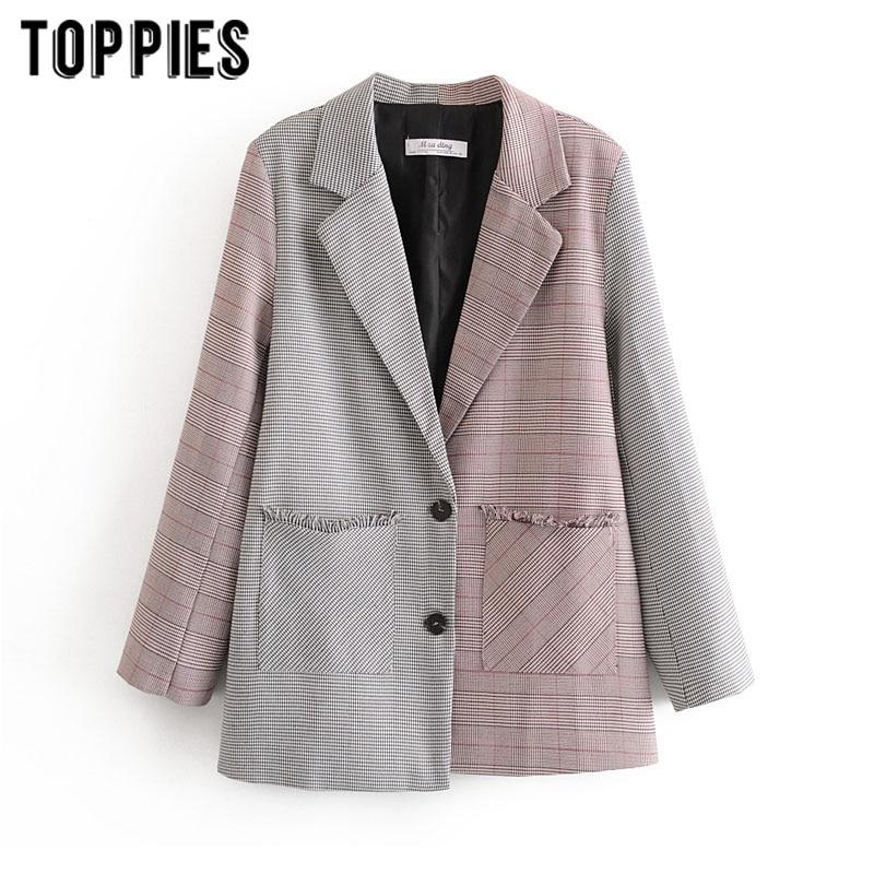 2020 Spring Spliced Tassel Jacket Women Blazer Vintage Plaid Suit Jacket Single Breasted Coat