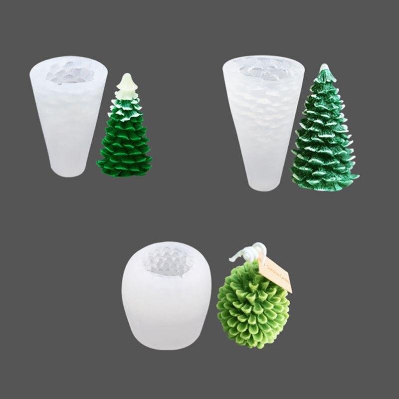Christmas Tree Silicone Mold Pine Fruit Shape Cake Molds DIY Baking Aromatherapy Handmade Candle Making Mould Xmas Decoration