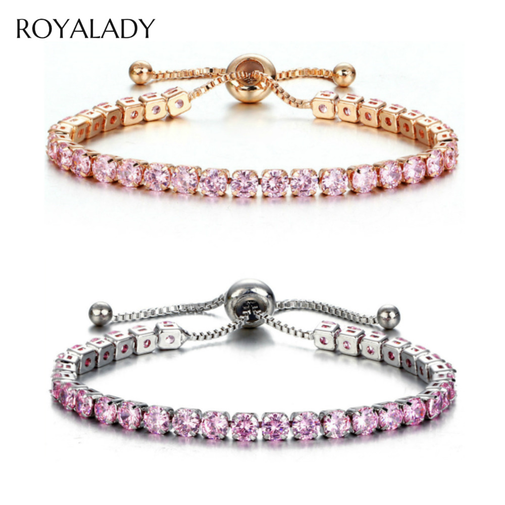 Fashion CZ Crystal Tennis Bracelet Luxury 4mm Shiny Cubic Zirconia Round Bangle For Women Men Rhinestone Charm Bridal Jewelry