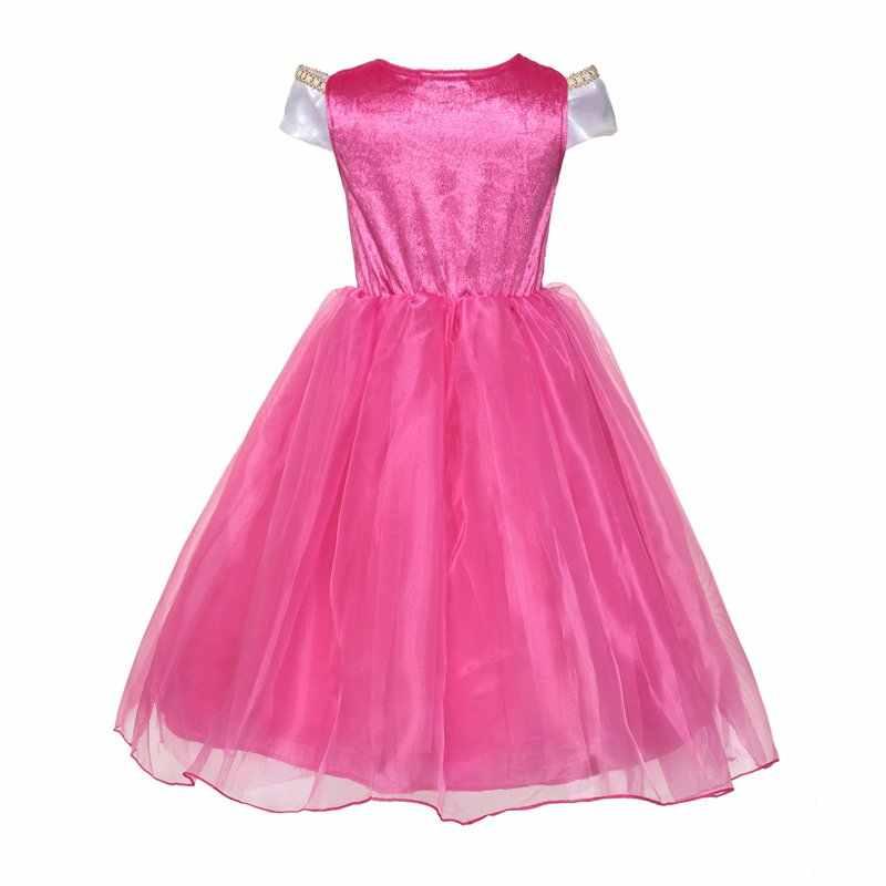 Küçük kızlar prenses Aurora kostüm kolsuz kapalı omuz uyku güzellik cadılar bayramı partisi giyinmek çocuk doğum günü elbise