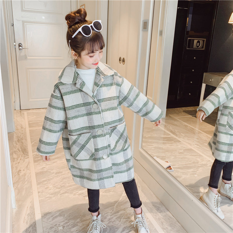 Teen Girls Wool Coat Girls Clothes Long-Sleeved Striped Kids Jacket for Girls Winter Coat Outerwear Children Clothing 10 12 13T