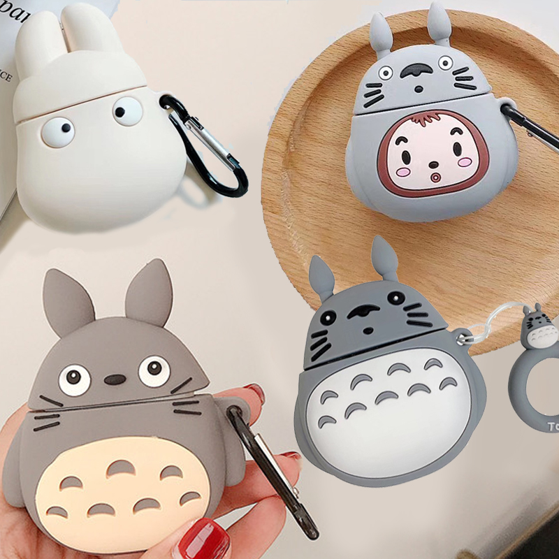 For Airpods <font><b>1</b></font> <font><b>3D</b></font> Cute Kawaii Japanese Anime Cartoon Totoro Case for Apple Airpods 2 Wireless Earphone Silicone Protective Cover image