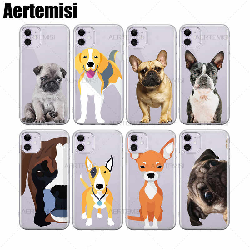 Aertemisi เด็ก Pug Beagle สีดำหน้ากาก Frenchie บอสตัน Terrier ใสฝาครอบ TPU Case สำหรับ iPhone 6 6 S 7 8 plus X XS XR 11 PRO MAX