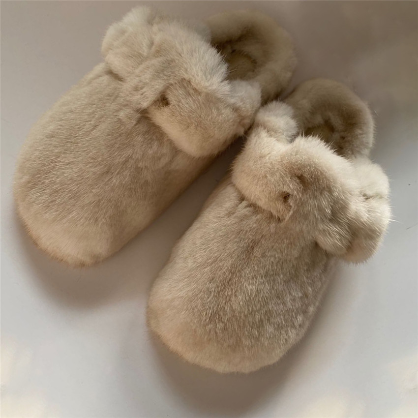 Women's Fur Slippers 100% Mink Fur Slippers Summer Fur Slippers Furry Flat Slippers Indoor Slippers