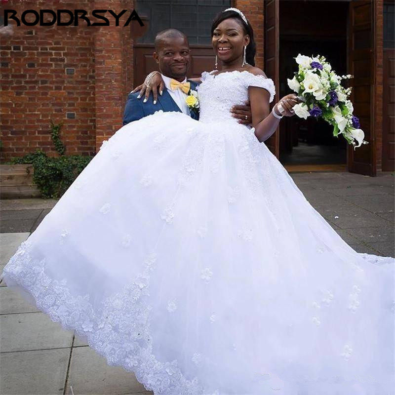 RODDRSYA Delicate Embroidery Ball Gown Wedding Dress Flowers Off The Shoulder Bridal Gown White Vestido De Casamento