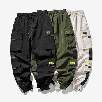 2020 New Hip Hop Joggers Cargo Pants Men Harem Pants Multi-Pocket Ribbons Man Sweatpants Streetwear Casual Mens Pants XS-5XL 1