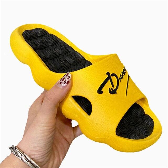 2021 Summer Non-slip Bathroom Slides Flops Couples Unisex Platform Slippers Home Men Slippers Simple Solid Color Shoes 5
