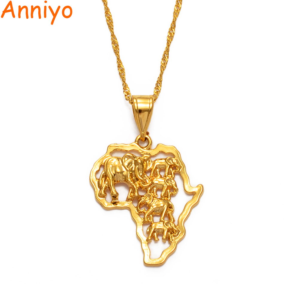 Anniyo Map Of Africa Necklace Gold Color Elephant African Map Pendant Chain Women/Men Ethiopian Jewelry Nigeria #132506