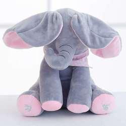 30cm peek um elefante recheado de pelúcia boneca brinquedo elétrico falando cantando brinquedo musical elefante jogar esconder e procurar para crianças brinquedos