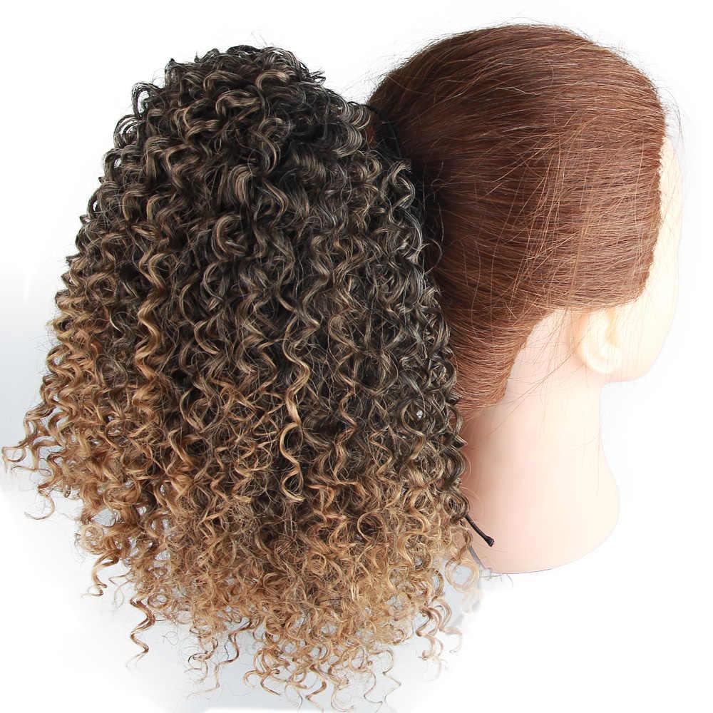 Moderno rainha afro kinky curly rabo de cavalo afro-americano curto envoltório sintético cordão puff pônei cauda clipe em extensões de cabelo