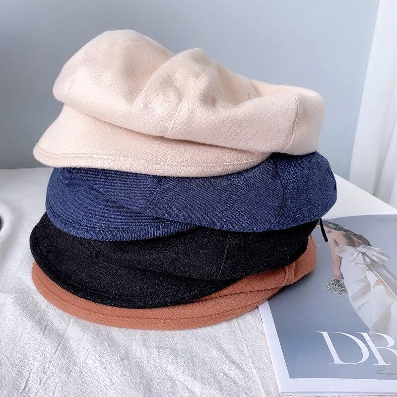 Women Cotton Blend Berets Winter Autumn Octagonal Beret Caps Stylish Artist Painter Newsboy Hats Black Grey Beret Hats