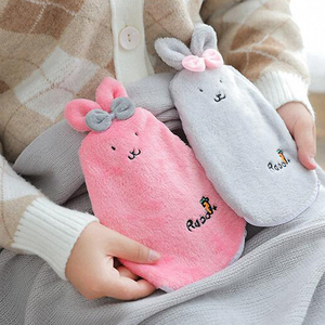 Cartoon Rabbit Hot Water Bottle Plush Injection Warm Water Bag Winter Detachable Cover Hand Warmer Winter Warming Products