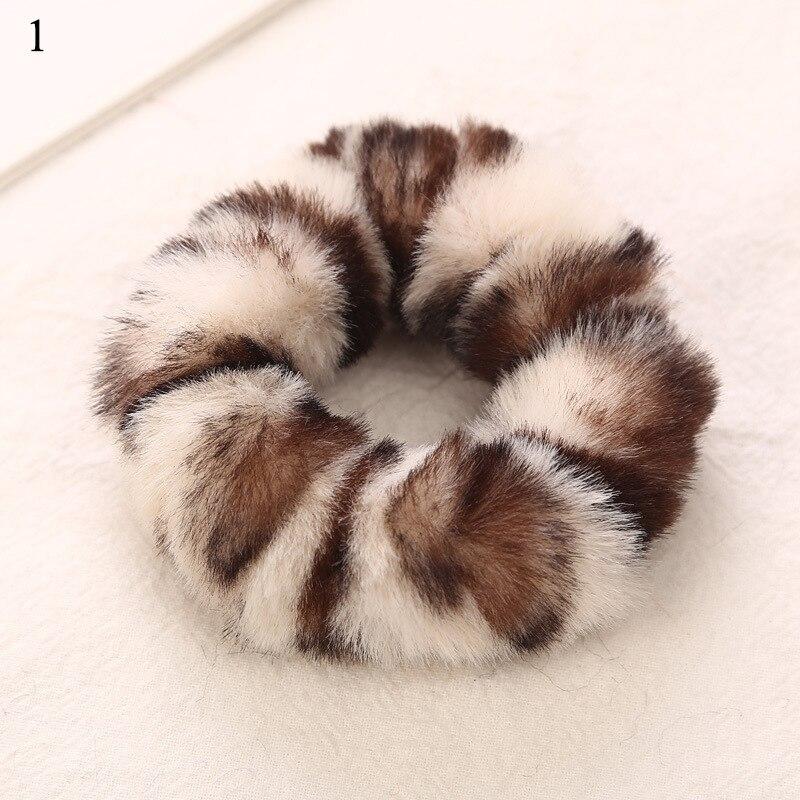 Новые зимние теплые мягкие резинки из кроличьего меха для женщин и девушек, эластичные резинки для волос, плюшевая повязка для волос, резинки, аксессуары для волос - Цвет: 1