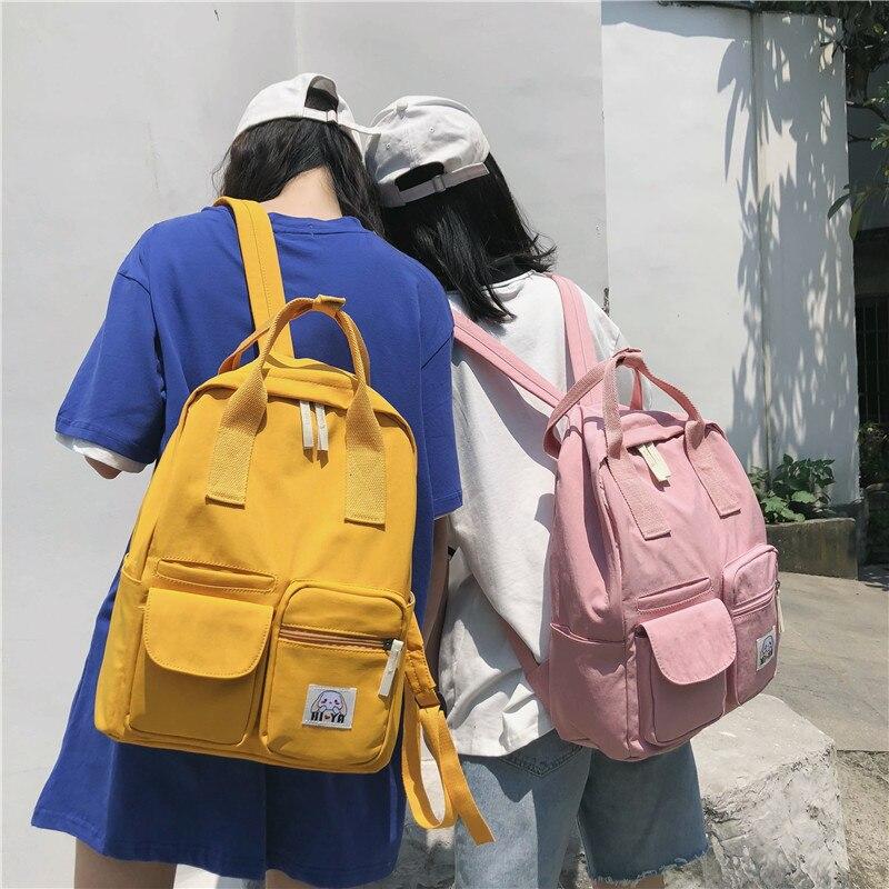 Waterproof Canvan Backpack Cute Girls Portable School Bags Female Travel Backpacks Student Bookbag Large Capacity Shoulder Bags