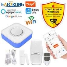 Tuya Smart WiFi Home Security Alarm System 433MHz Wireless Strobe Siren Alarm Compatible With Alexa Google Home Tuya APP
