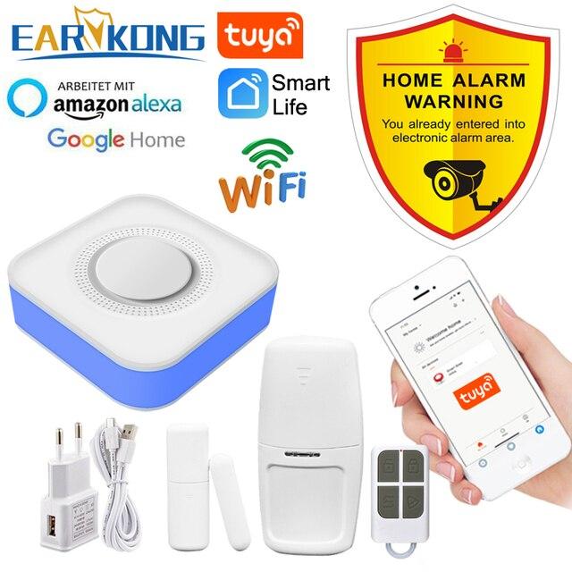 Tuya inteligente wi fi sistema de alarme segurança em casa 433mhz sem fio sirene estroboscópica alarme compatível com alexa google início tuya app