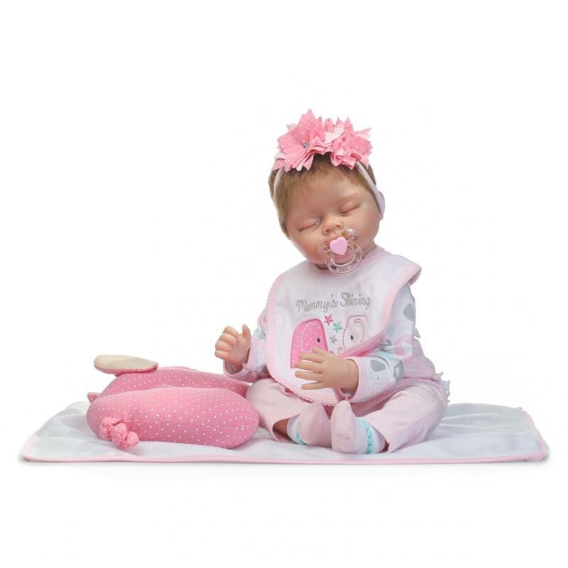 22inch 55cm Silicone Reborn Baby Doll Soft Body Sleeping Girl Newborn Lifelike Doll Brinquedos Bebe Reborn Toys Children Gifts