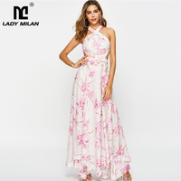 Women's Runway Dresses Sexy Halter Sleeveless Floral Printed Open Back High Street Fashion Long Dresses
