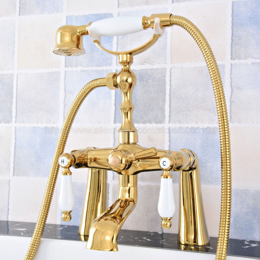 Luxury Gold Color Brass Deck Mounted Dual Handles Bathtub Faucets with Hand Shower Telephone Type Bath Shower Faucet ztf783