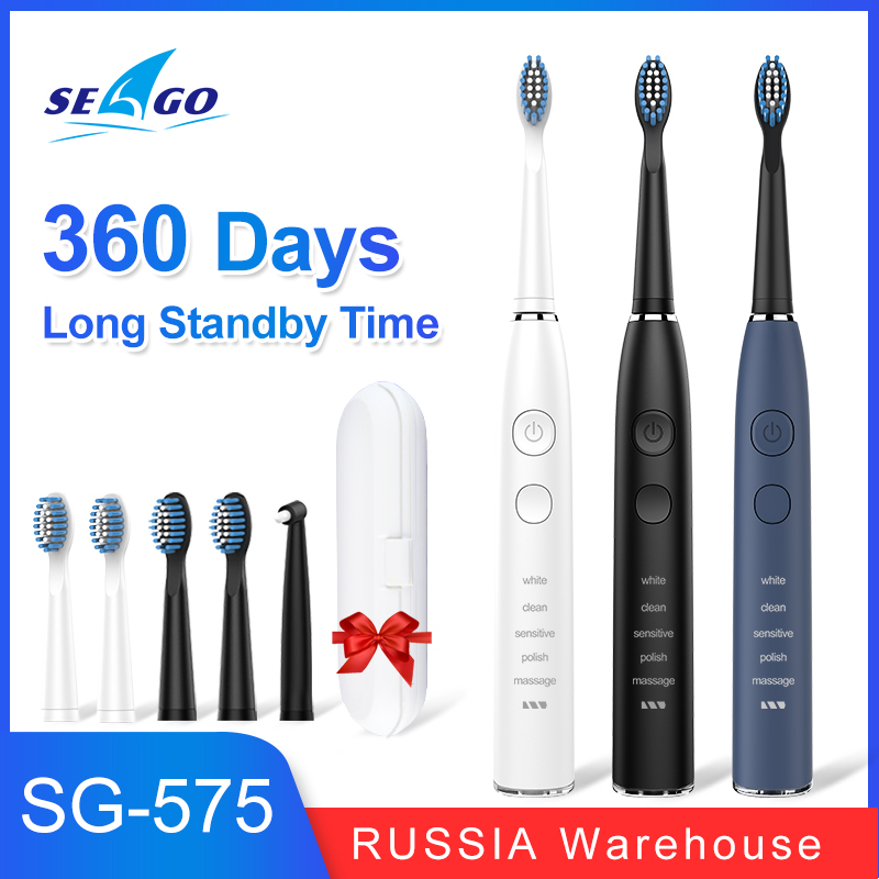 SEAGO Sonic Electric Toothbrush Upgraded Adult Waterproof USB Rechargeable 360 Days Long Standby Time With5 Brush Head Best Gift