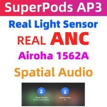 Superpods ap3 tws 1562a duplo anc mic cancelamento de ruído ativo ei siri híbrido anc espacial áudio metal dobradiça aberturas reais pk h1
